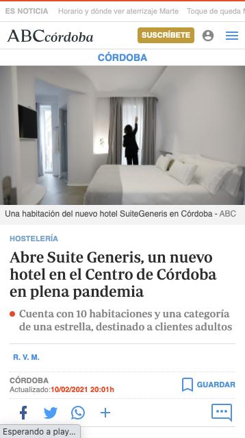 Abre Suite Generis, un nuevo hotel en el Centro de Córdoba en plena pandemia