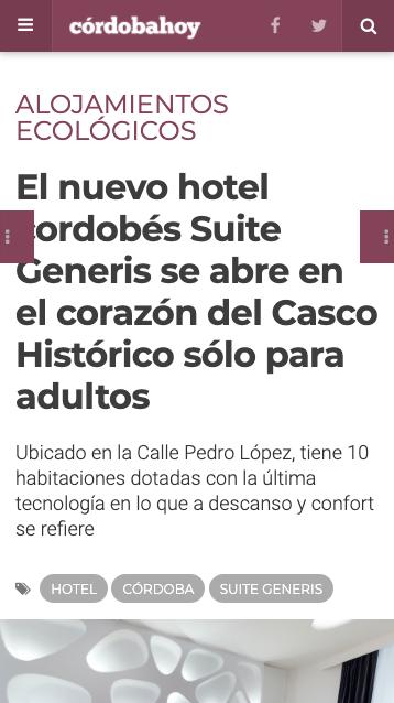 El nuevo hotel cordobés Suite Generis se abre en el corazón del Casco Histórico sólo para adultos